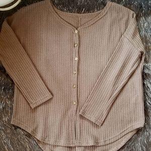Floryday Dark Khaki Button-Up Sweater